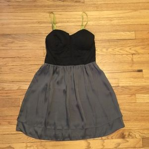 Anthropologie Eloise blk/gray silk dress - Small